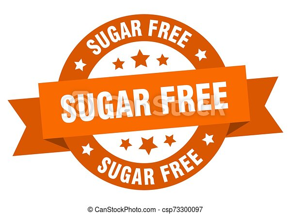 sugar free ribbon. sugar free round orange sign. sugar free - csp73300097