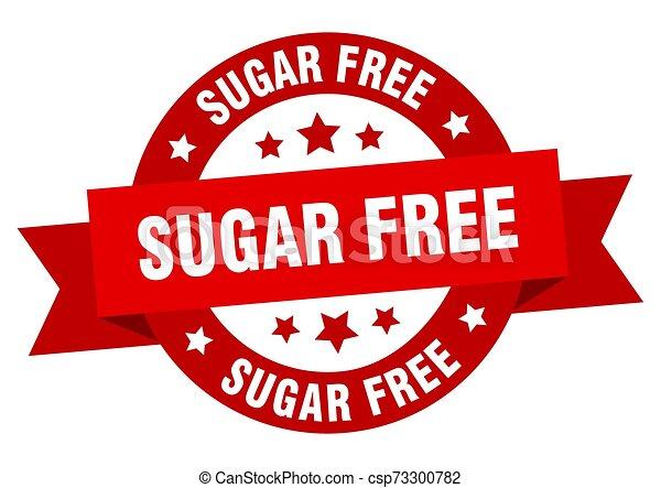 sugar free ribbon. sugar free round red sign. sugar free - csp73300782