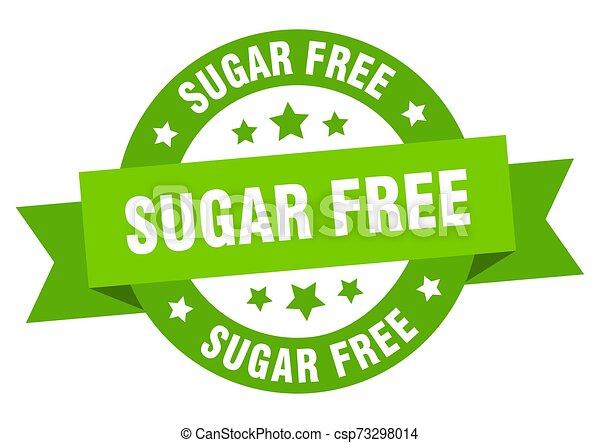 sugar free ribbon. sugar free round green sign. sugar free - csp73298014