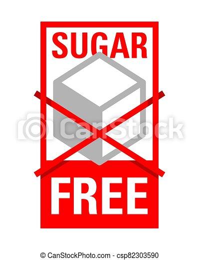 Sugar free sign - crossed sugar cube - csp82303590