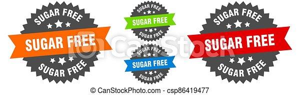 sugar free sign. round ribbon label set. Seal - csp86419477