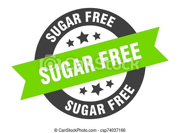 sugar free sign. sugar free black-green round ribbon sticker - csp74037166