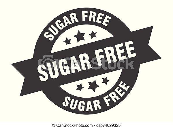 sugar free sign. sugar free black round ribbon sticker - csp74029325