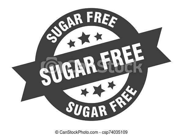 sugar free sign. sugar free black round ribbon sticker - csp74035109