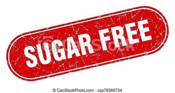 sugar free sign. sugar free grunge red stamp. Label - csp79369734