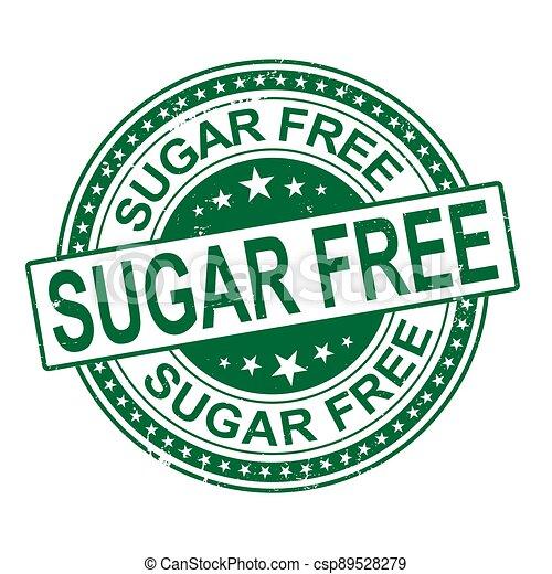 sugar free. stamp. sticker. seal. round grunge vintage ribbon sugar free sign - csp89528279
