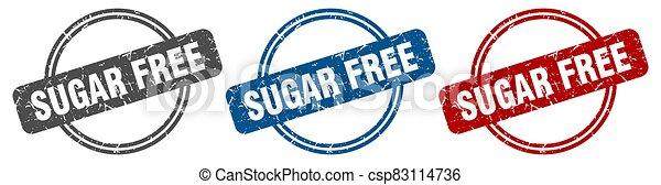 sugar free stamp. sugar free sign. sugar free label set - csp83114736