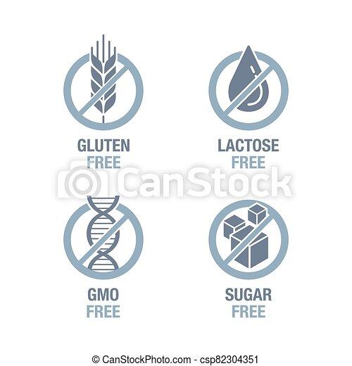 Sugar, Gluten, Lactose, GMO free set - csp82304351