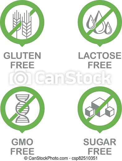 Sugar, Gluten, Lactose, GMO free set - csp82510351