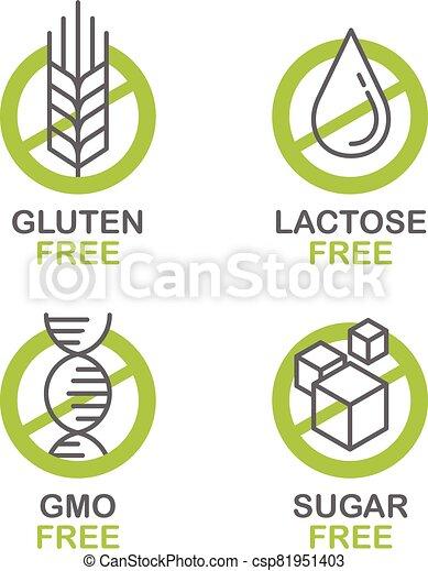 Sugar, Gluten, Lactose, GMO free set - csp81951403