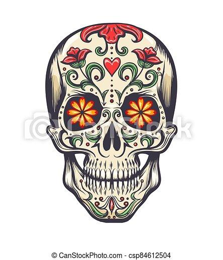 Sugar Skull Decoration Tattoo - csp84612504