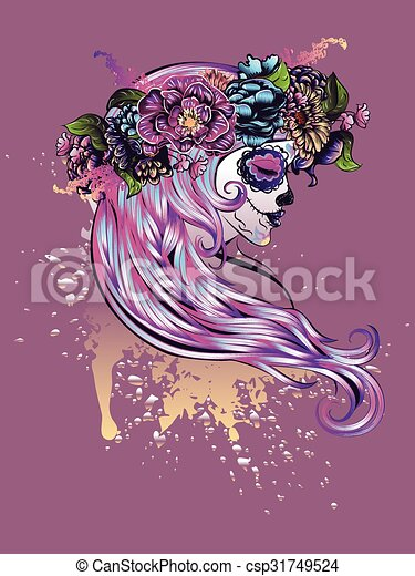 sugar skull girl in flower crown day of the dead illustration with