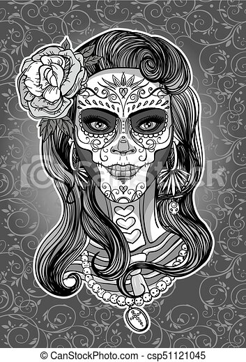 Sugar Skull Lady Woman With Sugar Skull Makeup Day Of The Dead