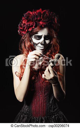 Sugar Skull Lalka Calavera Makijaż Młody Ostry Czarownica