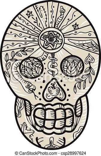 Sugar Skull Tattoo Etching - csp28997624