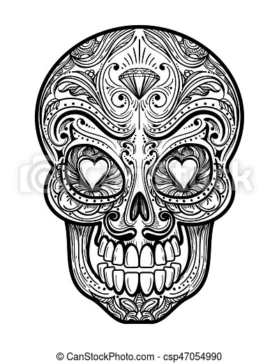 Sugar skull tattoo illustration - csp47054990