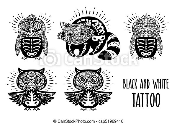 Sugar Skulls Black And White Tattoo Vector Illustration Day Of The