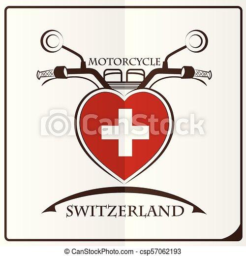 suisse, logo, drapeau, fait, motocyclette - csp57062193