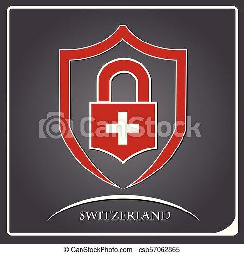 suisse, serrure, drapeau, fait, logo - csp57062865