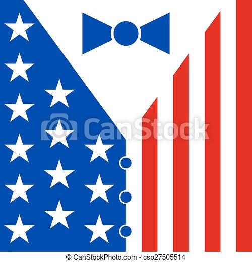 suit in the colors of the american flag mens suit with bow tie rh canstockphoto com Bow Tie SVG Tuxedo Bow Tie Vector