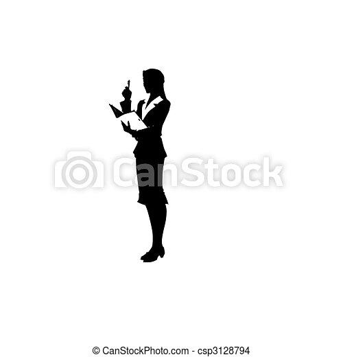 Una mujer está en traje. Ilustración del vector - csp3128794