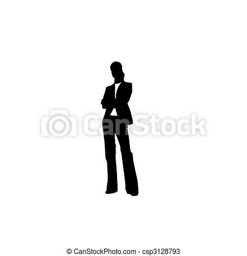 Una mujer está en traje. Ilustración del vector - csp3128793
