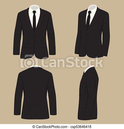 58c4826a Vector illustration of a men fashion, suit uniform, back side view ...