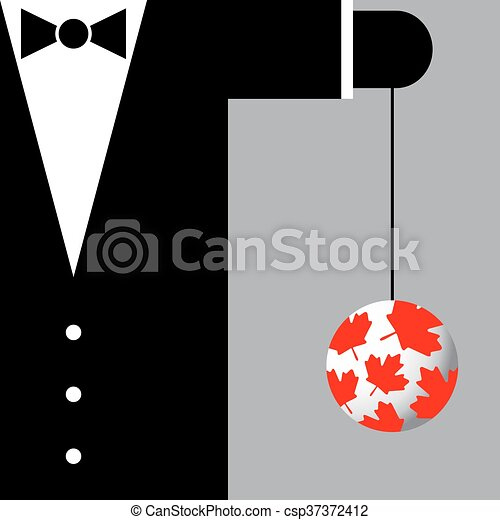 Black Suit With The Symbols Of Canada Black Bow Tie And Vector