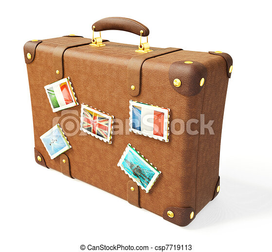 Brown suitcase isolated on a white background.