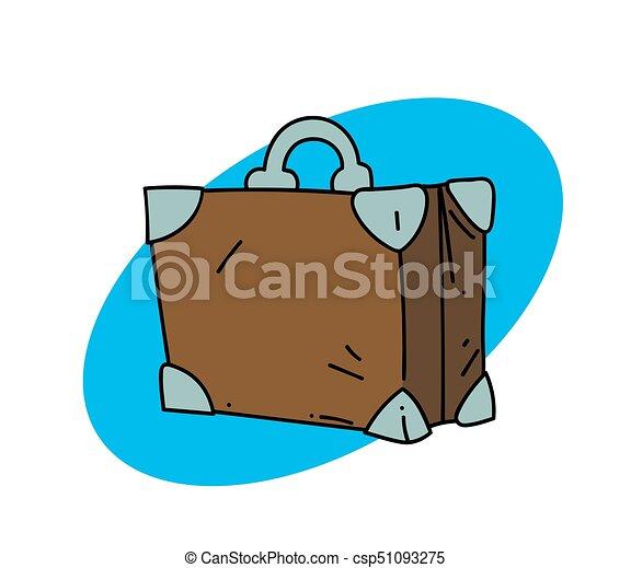 Suitcase Cartoon Hand Drawn Image Original Colorful Artwork