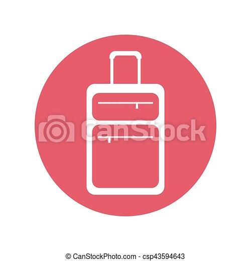 suitcase travel equipment pink button - csp43594643