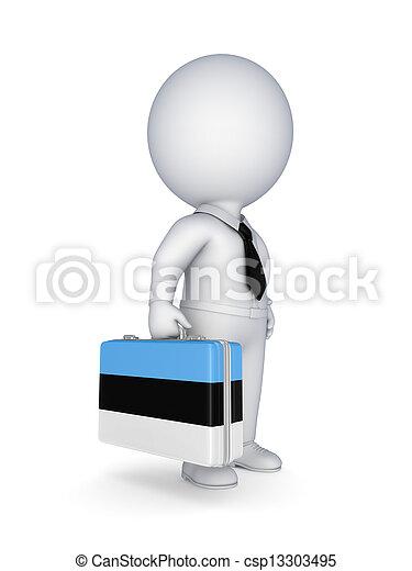 Suitcase with flag of Estonia. - csp13303495