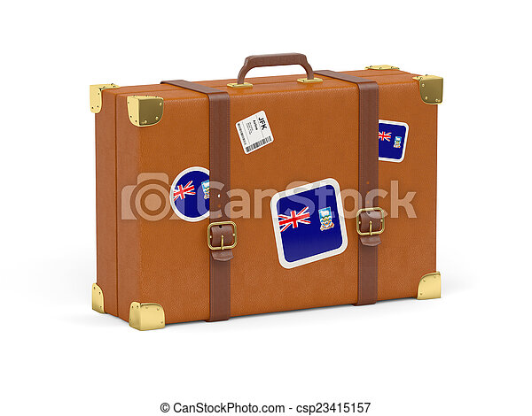 Suitcase with flag of falkland islands - csp23415157