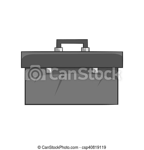 Suitcase with tools icon, black monochrome style - csp40819119