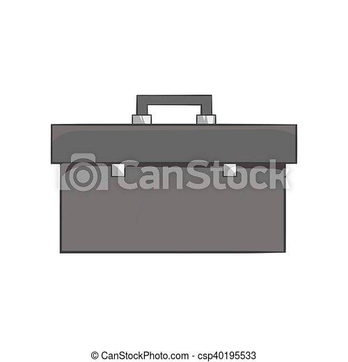 Suitcase with tools icon, black monochrome style - csp40195533