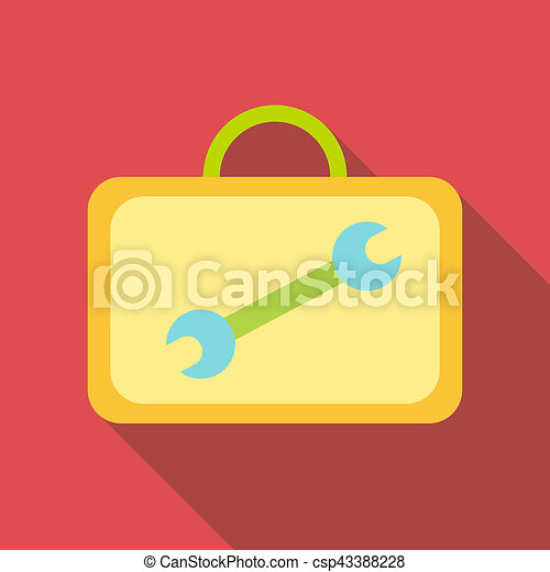 Suitcase with tools icon, flat style - csp43388228