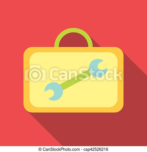 Suitcase with tools icon, flat style - csp42526216