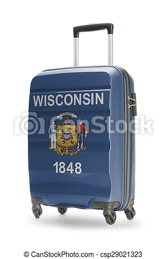 Suitcase with US state flag on it - Wisconsin - csp29021323