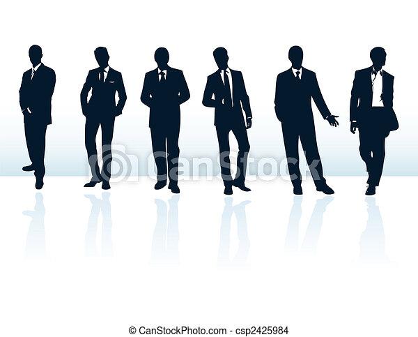 suits., plus, homme affaires, bleu, silhouettes, mon, ensemble, vecteur, sombre, gallery. - csp2425984