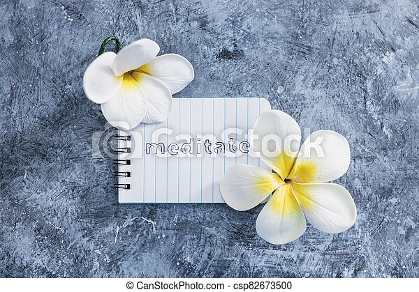 suivant, exotique, concept, bloc-notes, mental, béton, santé, fleurs, gris, méditer, texte, surface - csp82673500
