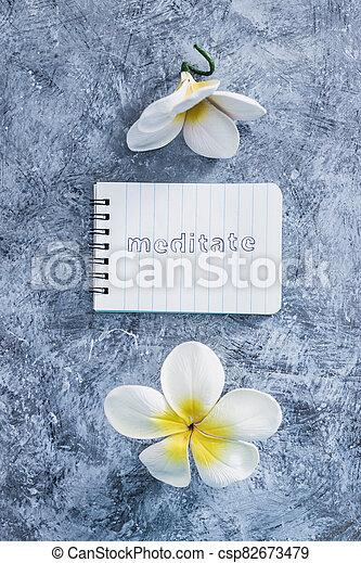 suivant, exotique, concept, bloc-notes, mental, béton, santé, fleurs, gris, méditer, texte, surface - csp82673479