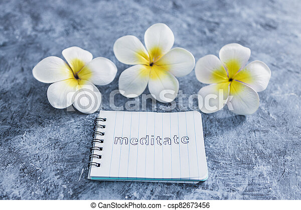 suivant, exotique, concept, bloc-notes, mental, béton, santé, fleurs, gris, méditer, texte, surface - csp82673456