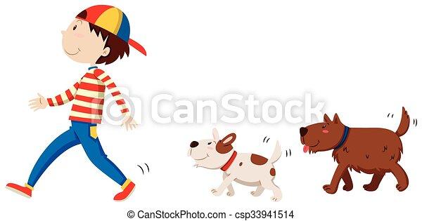 suivre, chiens, deux, homme - csp33941514