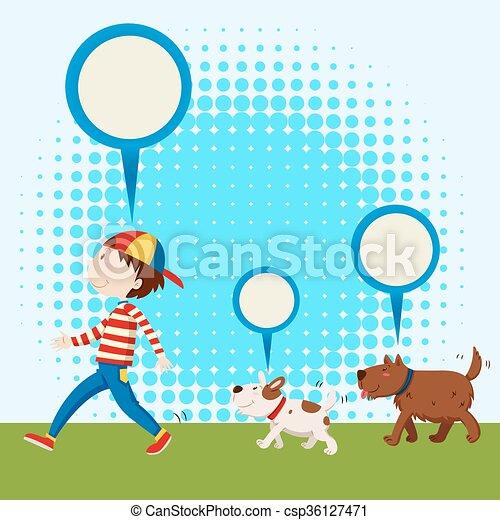 suivre, chiens, deux, homme - csp36127471