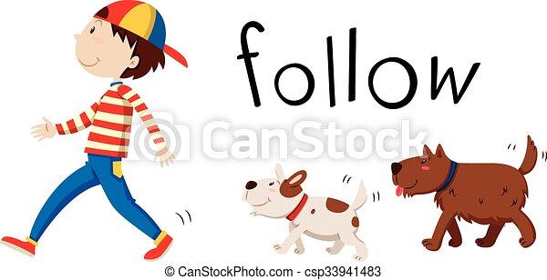 suivre, chiens, deux, homme - csp33941483