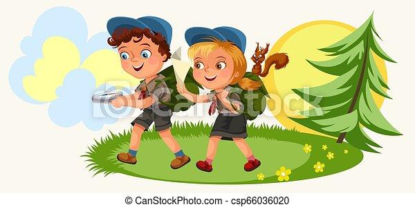suivre, dessin animé, gosses, forêt, compas - csp66036020