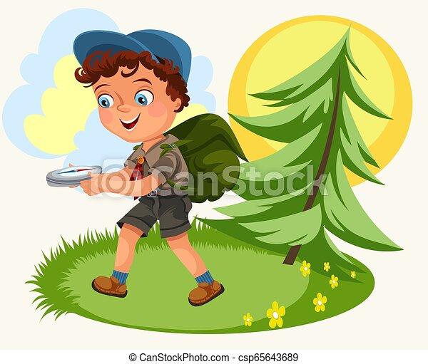 suivre, dessin animé, gosses, forêt, compas - csp65643689