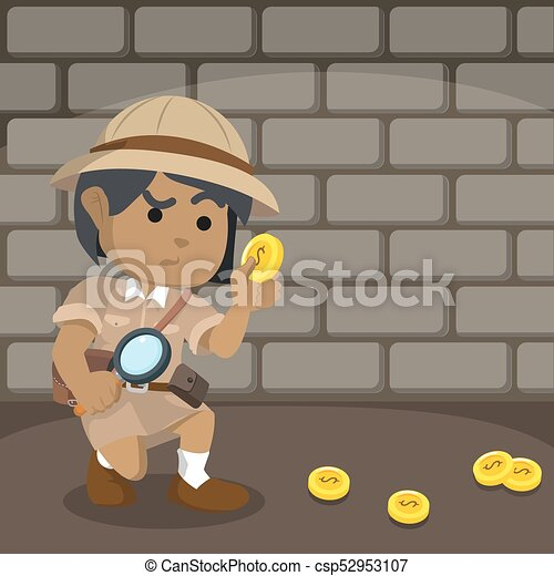 suivre, piste, monnaie, explorateur, africaine - csp52953107