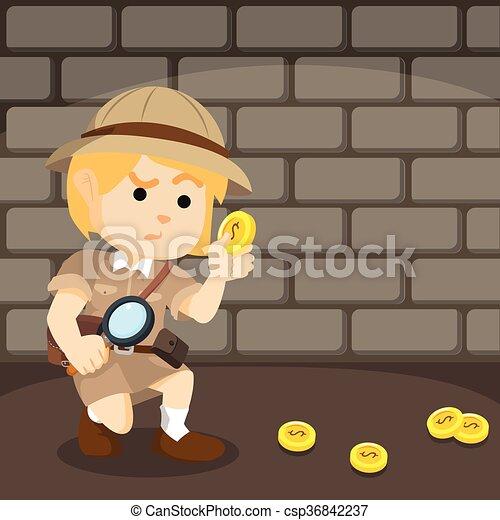 suivre, piste, monnaie, explorateur, gilr - csp36842237