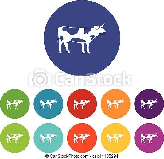La vaca Suiza puso iconos - csp44105294